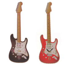 Fun Novelty Rock Guitar Shaped Wall Clock Wooden - $21.35