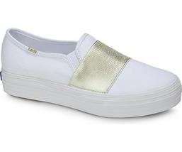 Keds WF58044 Women's Shoes Triple Bandeau Canvas Whie Gold, 7.5 Med - $39.55