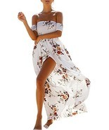 SHIBEVER Women Floral Off The Shoulder Sundress Split Chiffon Evening Ma... - £14.48 GBP