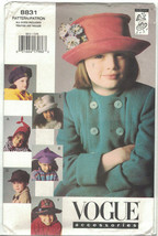 Vogue 8831 Children's Fall Winter Hats by Lola Beret, Deerstalker One Si... - $9.79