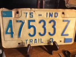 Vintage Indiana License Plate -  - Single Plate  1975 - $12.86