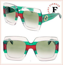 GUCCI GG0178S Crystal Red Green Stripe Oversized Gradient Sunglasses 017... - $276.21