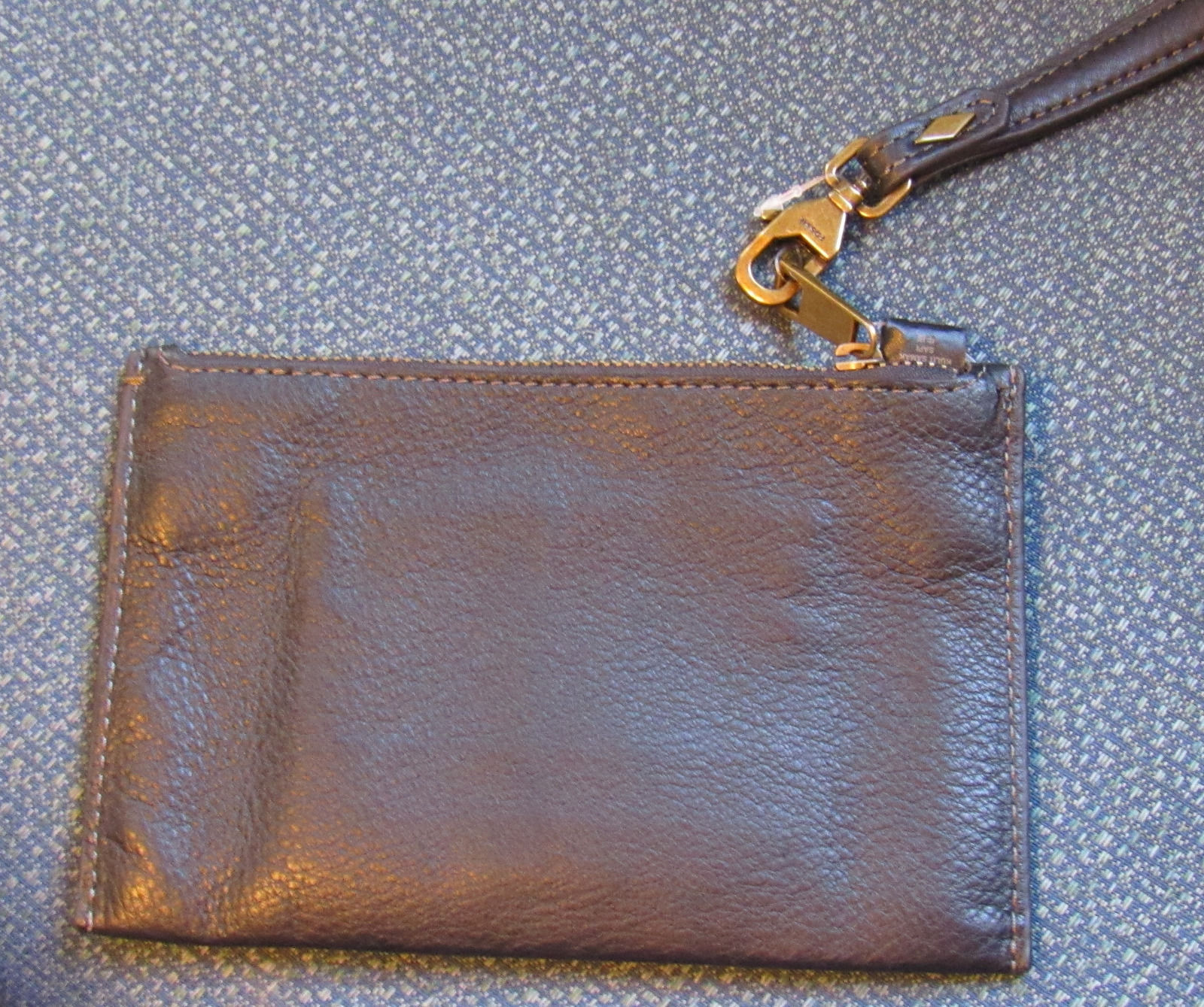 FOSSIL WOMENS WRISTLET WALLET TOP ZIP CLOSE GENUINE 100%LEATHER BLACK SOLID NEW