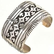 """Navajo Rose, Tommy Singer 1.5"""" Sterling Silver Rug Pattern Overly Bracel... - $479.00"""