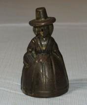 Vintage Ottone Bell Lady 5.4cm Alto x 2.9cm Larghezza con Cappello Vitto... - $16.03