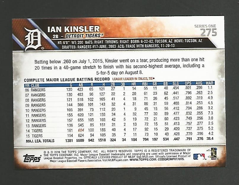 2016 Topps Ian Kinsler - Detroit Tigers - Mint #275