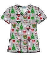 V-Neck Christmas Holiday Themed Print Scrub Top - $16.82+
