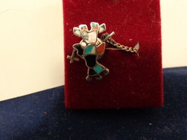 VTG SOUTHWESTERN STERLING INLAID TURQUOISE DANCER TIE TACK - $15.84
