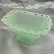 Pale Green Lace Edge Footed Pedestal Indiana Glass Candy Dish - $34.95