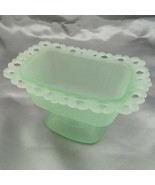 Pale Green Lace Edge Footed Pedestal Indiana Glass Candy Dish