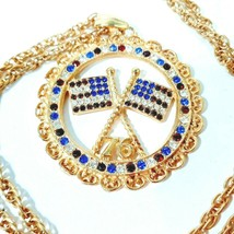 Avon 1776 Necklace Pendant Patriotic Gold Toned - $13.85