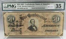 1864 $50 CT-66 Confederate Civil War Counterfeit Banknote w Ad PC-185 - $2,455.90