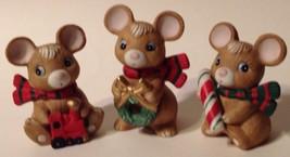 """Vintage Homco Christmas Mice Figurines Set of 3 Mint 3 1/2"""" Tall 5210 - $21.78"""