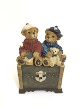 "Vintage Two Bears Sitting on Top of a Trunk Resin Bank 5"" High  x 4.5"" Long - $14.65"
