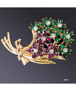 Vintage Flower Pin Purple Green Brooch 1930s - $75.00