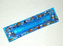 Murano Glass Handmade Mezuzah Case 10 cm w Scroll Aqua Turquoise Murrina Italy image 2