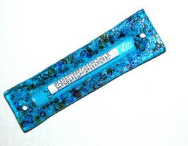 Murano Glass Handmade Mezuzah Case 10 cm w Scroll Aqua Turquoise Murrina Italy image 3