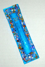 Murano Glass Handmade Mezuzah Case 10 cm w Scroll Aqua Turquoise Murrina Italy