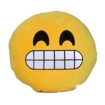 Emoji Smiley Emoticon Stuffed Plush Soft Round Cushion 13 in. Pillow, Gi... - $9.69