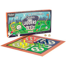 Snakes & Ladders Plus Ludo Double Sided Board Games Classic Fun 2-4 Players - $12.67