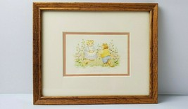 Vintage Framed Print Cats Good Friends Hallmark Wood Frame Kittens USED ... - $14.50