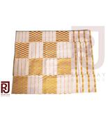 White & Gold Handwoven Kente Cloth Asante Kente Fabric Ghana Kente 6 yards - $155.00
