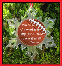 Personalized Football Christmas Ornament - Snowflake ORNAMENT- Football - $12.95
