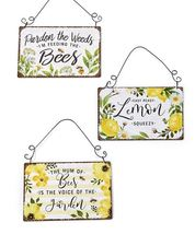 Set of 3 Metal Bee Themed Signs with Black Metal Hanger-Each with Sentiment - $44.54