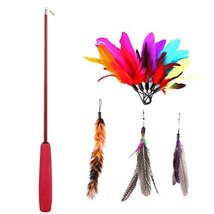 8 Pcs Assorted Feather Cat Toy Etrech Retractable Wand Rod With Misc. - $22.85