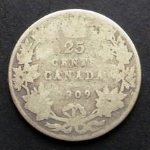 1909 CANADA 25 CENT SILVER QUARTER COIN - D127 - $6.34