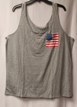 New Womens Plus Size 3X Gray W American Red White & Blue Flag Pocket Tank Top - $17.41