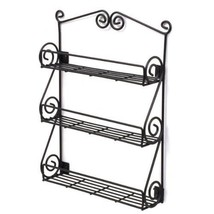 Spectrum Wall-Mountable Black Scroll Spice Jar Rack,Organizer Kitchen St... - $15.00