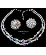Vintage Aurora Borealis Necklace Earrings Set 1950s - $32.00