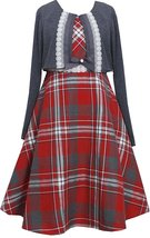 Tween Big Girls Plus Metallic Plaid Lace Trim Dress/Jacket Set,Bonnie Jean