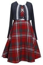 Tween Big Girls Plus Metallic Plaid Lace Trim Dress/Jacket Set, Bonnie Jean