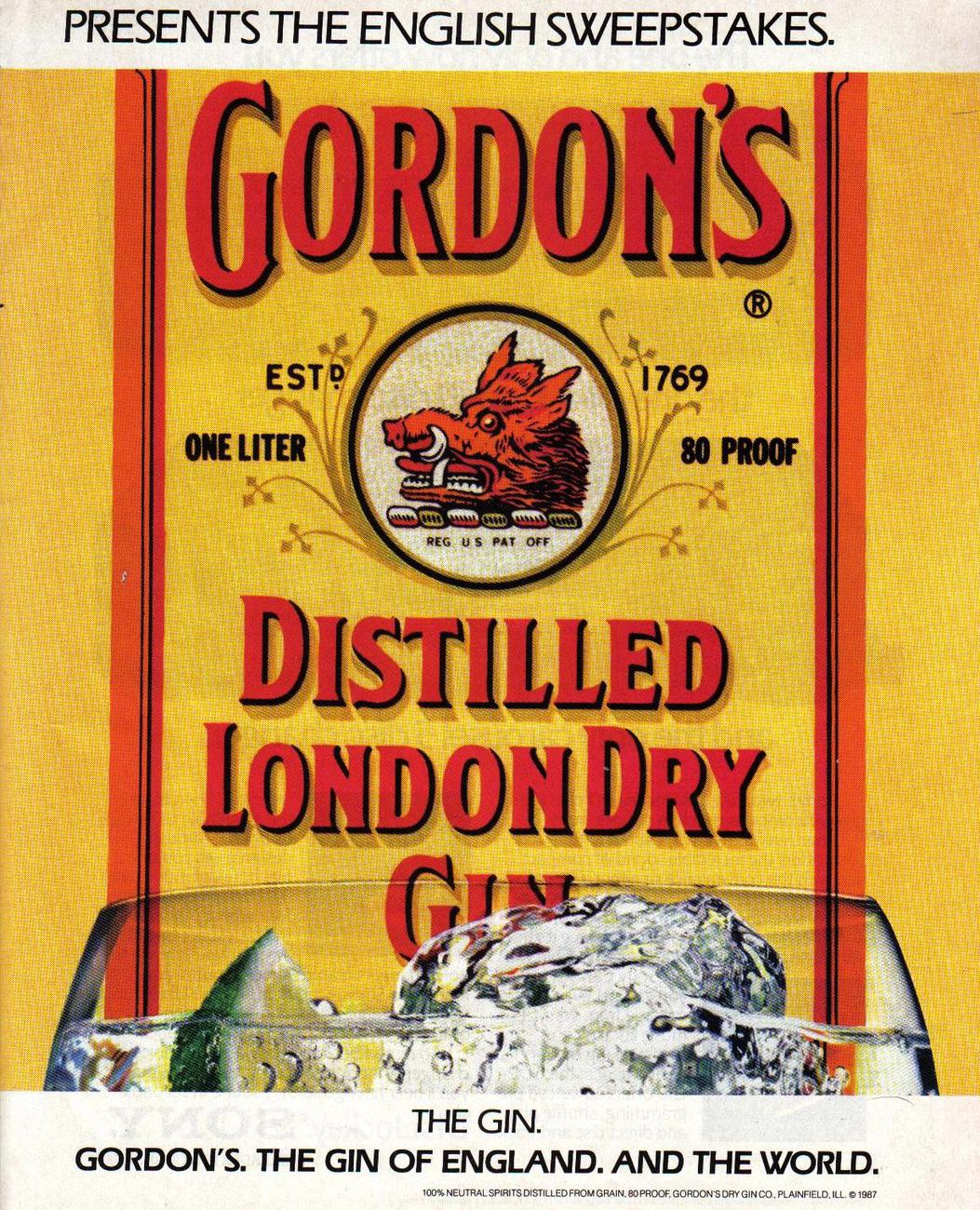 1987 Gordon's Dry Gin  Two Page Color Print Ad Original Collectible Near Mint