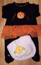 Girl's Size 3 M 0-3 Months 1P Carter's Black Glitter Pumpkin Footed Paja... - $15.50