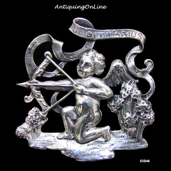 Primary image for Vintage Cupid Sterling Sagittarius Pin Cini