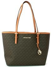 Michael Kors Shopper Tote Bag Brown / Acorn Logo Monogram PVC Large Handbag - $313.39