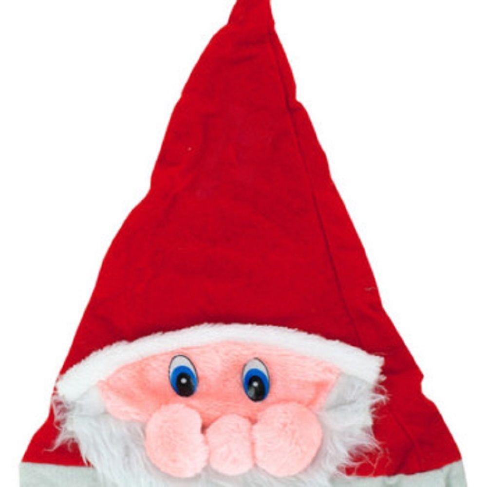 SANTA HAT WITH PLUSH SANTA FACE-One hat
