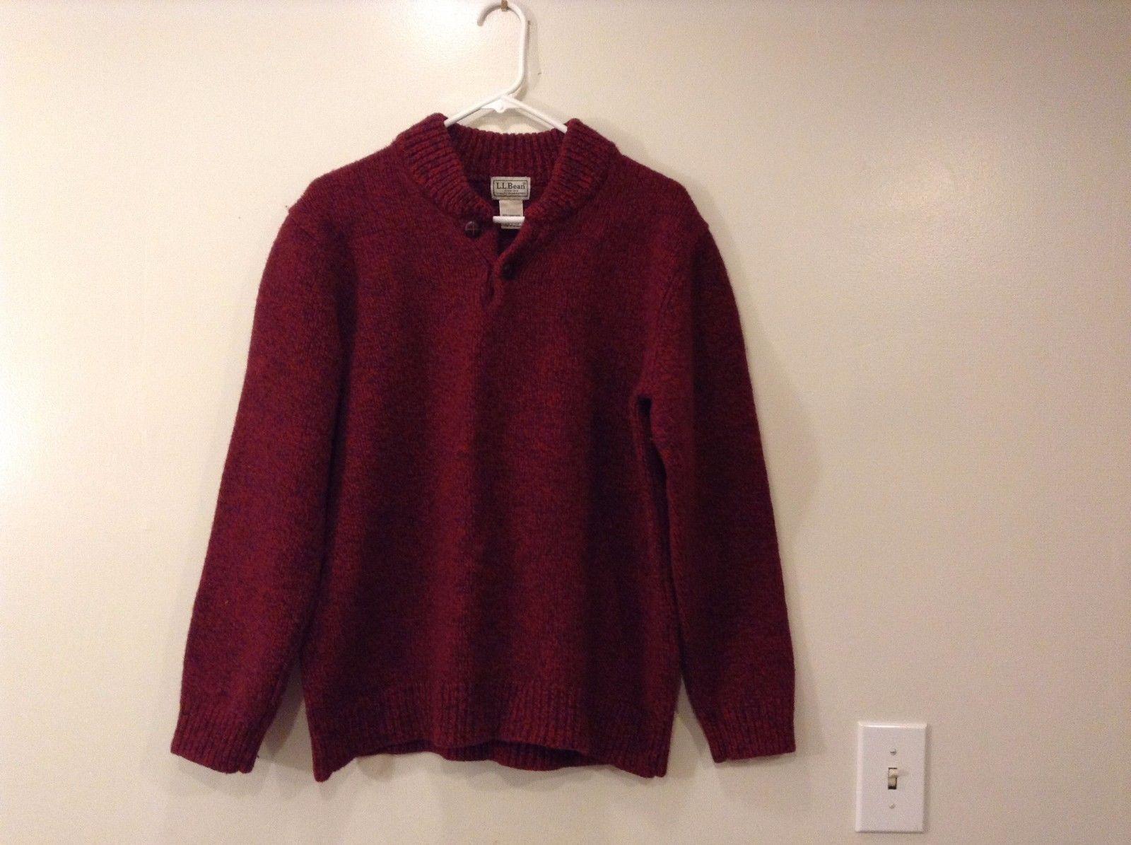 Mens L.L. Bean Dark Red 100% Lambs Wool Sweater Size L Tall Two Buttons