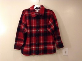 Womens White Stag Thick Fleece Red Black White Plaid Jacket Size M Buttons Front