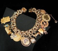 Gold filled Charm Bracelet Vintage 10kt charm bracelet 14kt charm 8kt go... - $345.00