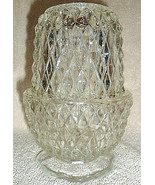 FAIRY LAMP - INDIANA GLASS CO. - 2pc. CLEAR GLASS DIANOND POINT CANDLE HOLDER  - $7.91