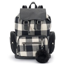 Mudd Callie Black & White Buffalo Plaid Check Backpack School Book Bag -... - $34.99