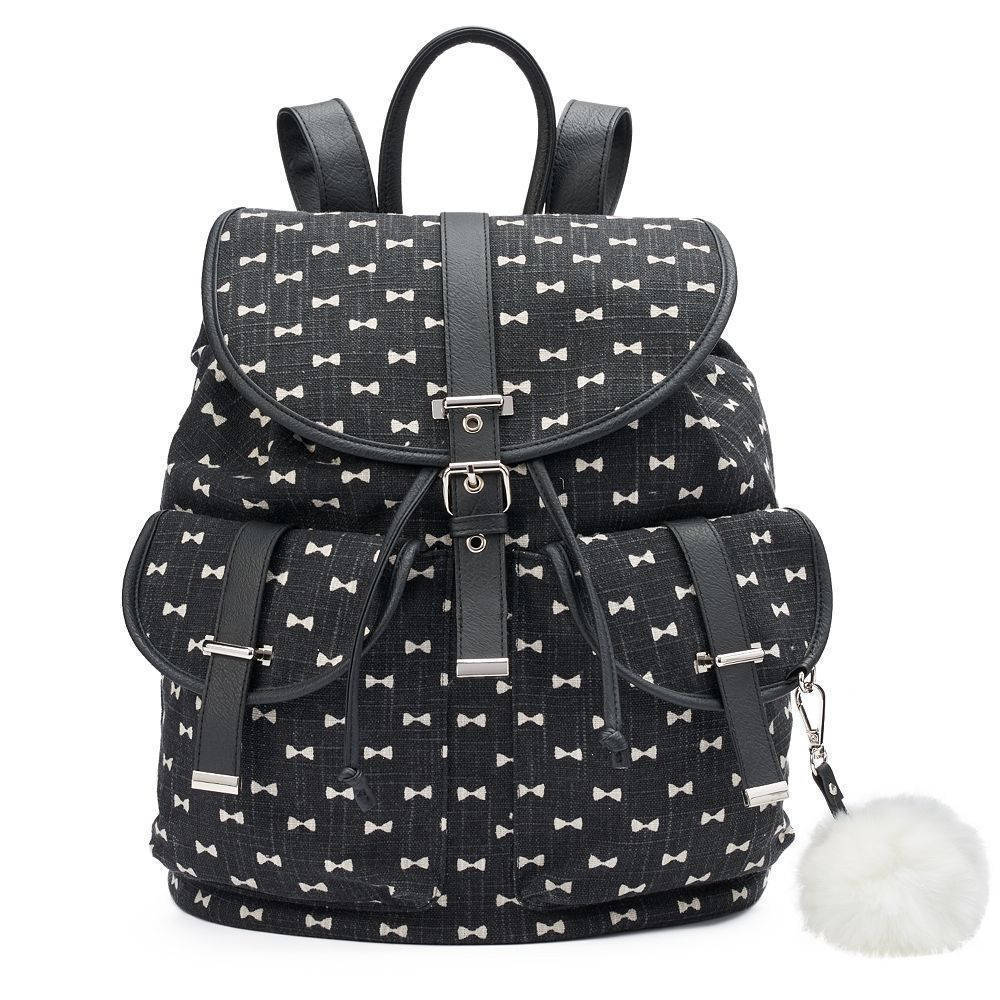 Mudd Black with White Bows Backpack School Book Bag - NWT