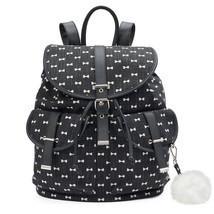 Mudd Black with White Bows Backpack School Book Bag - NWT - $1.148,15 MXN