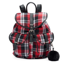 Mudd Quinn Plaid Black Red White Backpack School Book Bag - NWT - $42.69