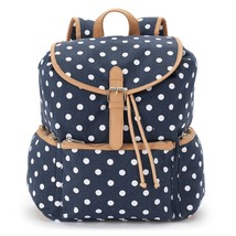 Mudd Navy Blue with White Polka Dots Patterned Backpack School Book Bag ... - $42.69