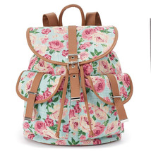 Mudd Quinn Mint Green Floral Backpack School Book Bag - NWT - $34.99